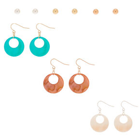 Mixed Metal Shell Disk Mixed Earrings - 6 Pack,