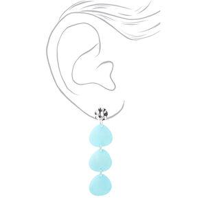 """Silver 2.5"""" Triple Stone Drop Earrings - Mint,"""