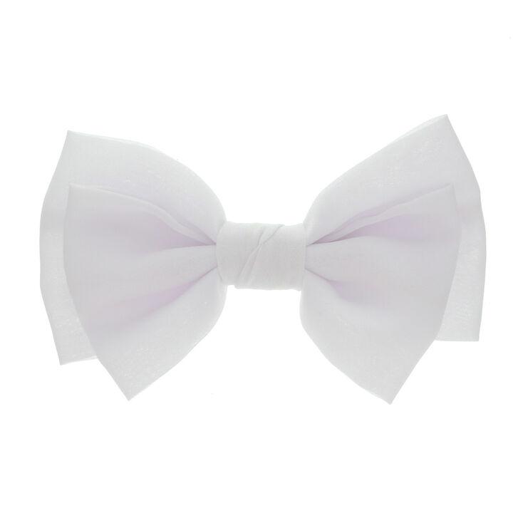 Grand nœud pour cheveux blanc souple fixé sur une barrette,