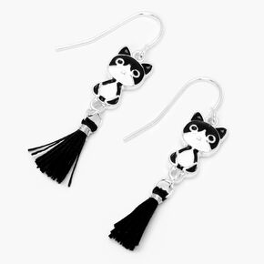 "Black and White Cat 3"" Tassel Drop Earrings,"