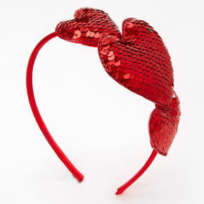 Puffy Hearts Reversible Sequin Headband - Red,
