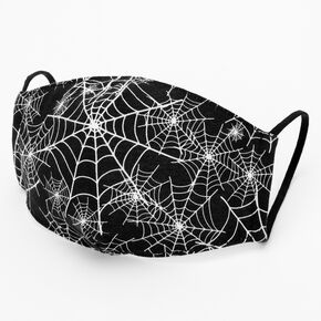 Cotton Black Spider Web Face Mask – Child Medium/Large,