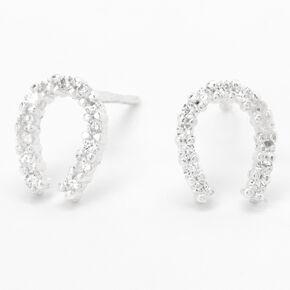 Sterling Silver Cubic Zirconia Horseshoe Stud Earrings,