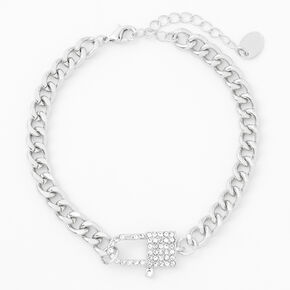 Silver Rhinestone Padlock Chain Link Anklet,