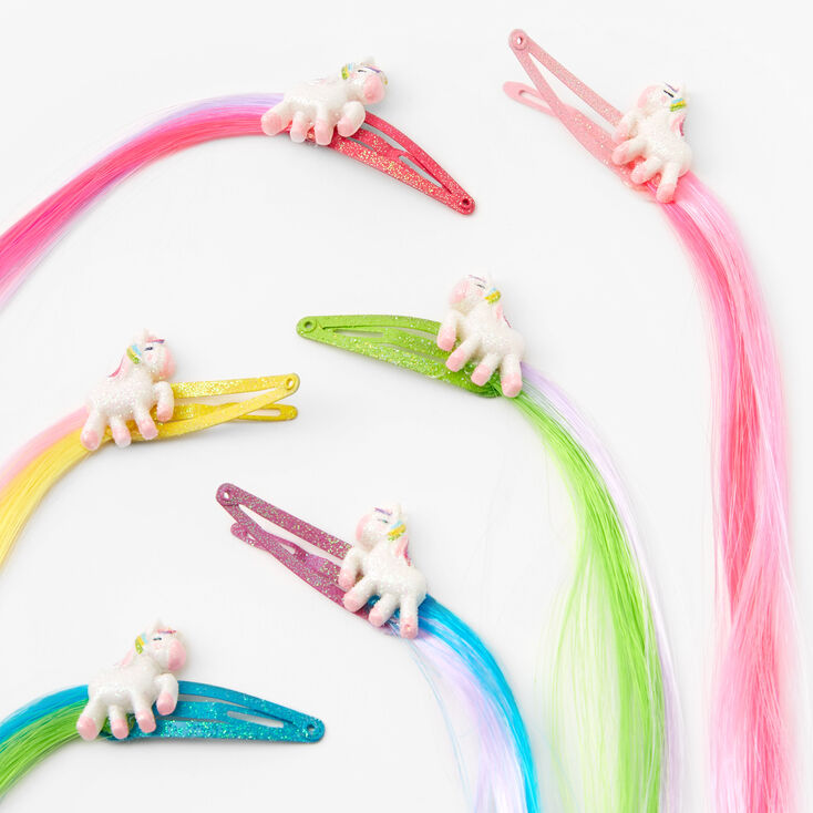 Claire's Club Faux Hair Unicorn Snap Hair Clips - 6 Pack,