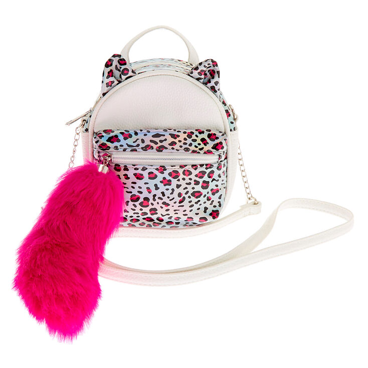 Holographic Leopard Cat Mini Backpack Crossbody Bag - White,