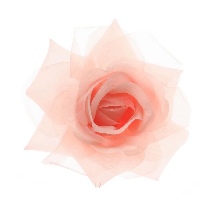 Barrette rose clair avec rose en tulle,