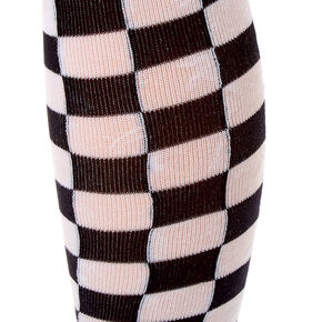 Chequered Over The Knee Socks,