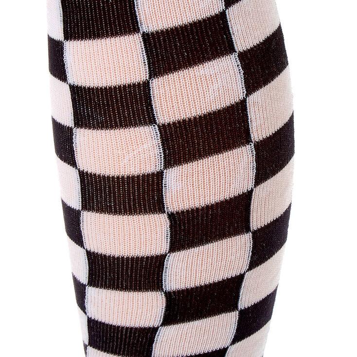 Checkered Over The Knee Socks,