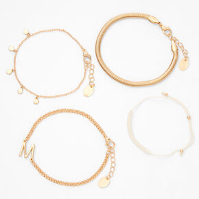 Gold Initial Charm Chain Bracelets - M, 4 Pack,