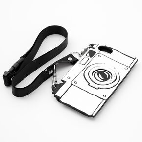 Black & White Camera Silicone Phone Case with Lanyard - Fits iPhone 6/7/8 SE,