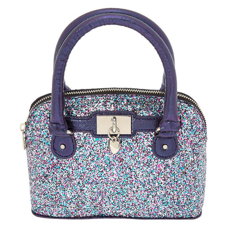 Rainbow Glitter Mini Satchel Crossbody Bag Navy