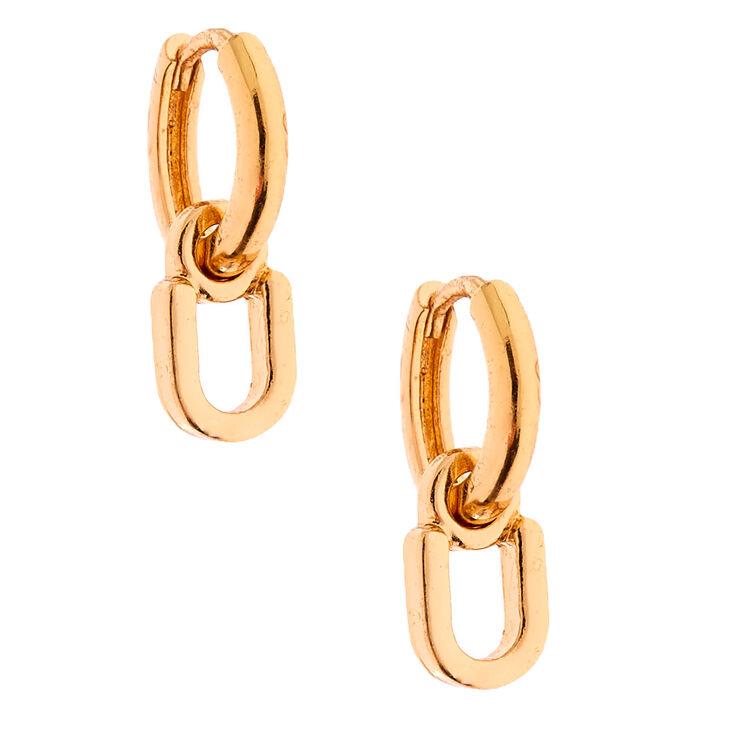 Gold 10MM Initial Huggie Hoop Earrings - U,