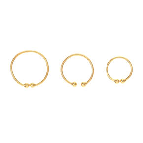 Gold Graduated Faux Hoop Nose Rings - 3 Pack,