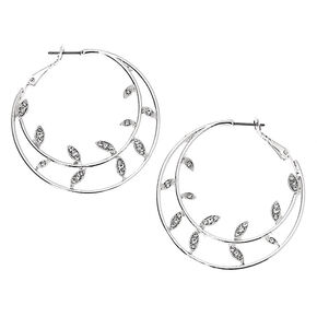 Silver 40MM Vine Hoop Earrings,