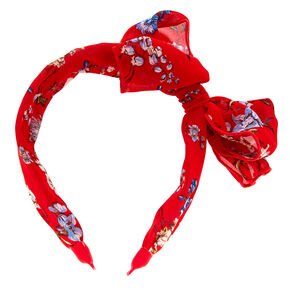 Wide Floral Knotted Bow Headband - Red,