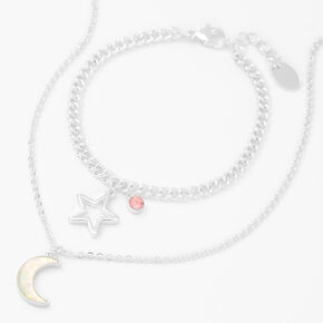 Silver Moon & Star Jewelry Set - 2 Pack,