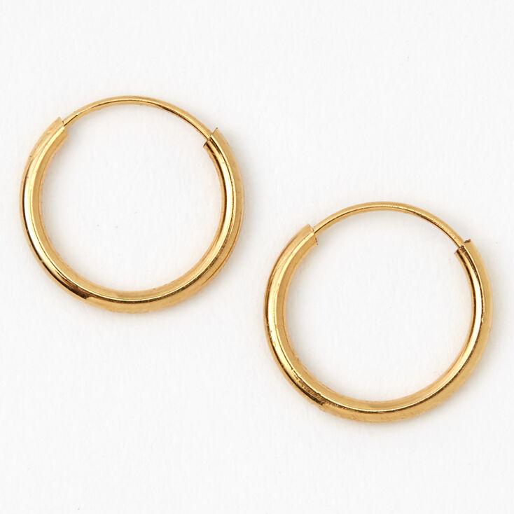 18kt Gold Plated 10MM Hoop Earrings,