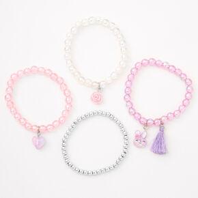 Claire's Club Bunny Beaded Stretch Bracelets - 4 Pack, Purple,