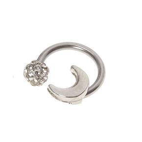 Silver 16G Fireball Moon Horseshoe Cartilage Earring,