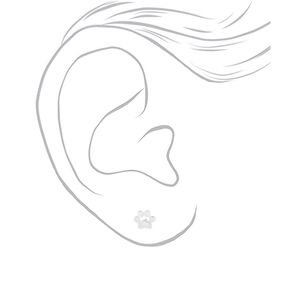 Sterling Silver Dog Paw Stud Earrings - Silver,