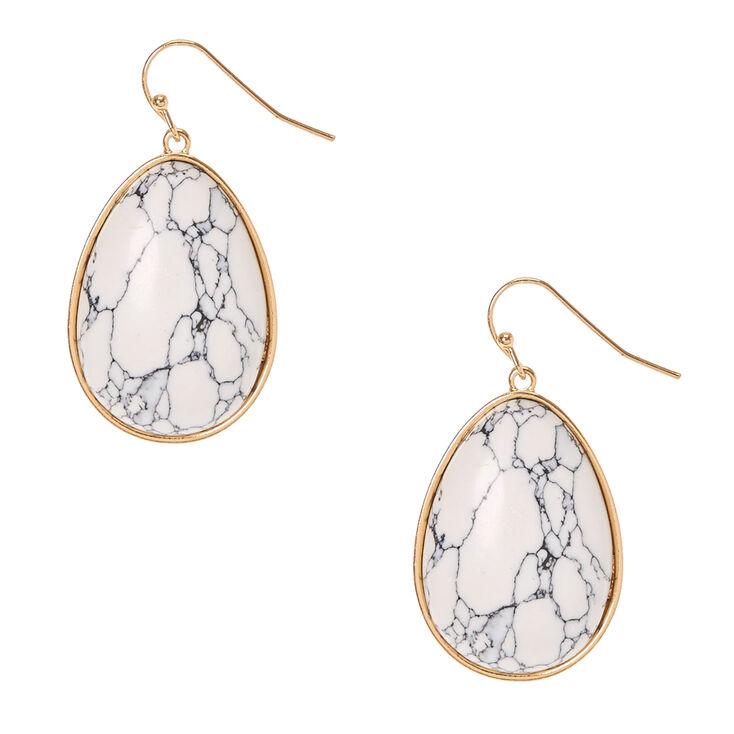 Teardrop White Marbled Stone Earrings