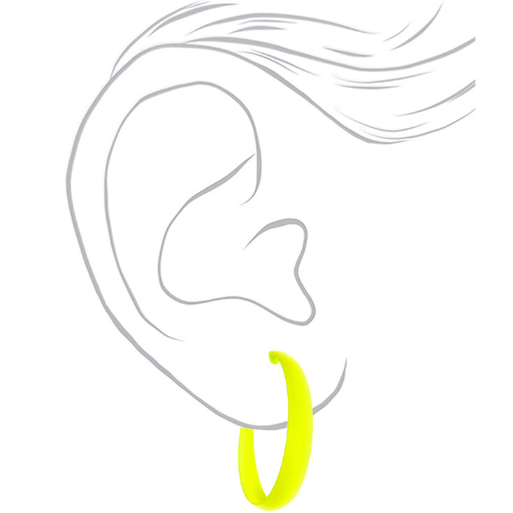 60MM Rubber Hoop Earrings - Neon Yellow,