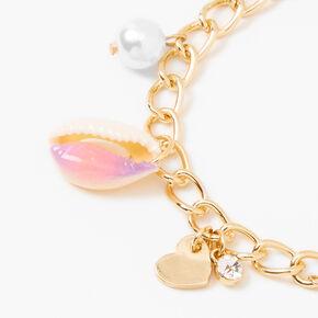 Gold Tie Dye Cowrie Shell Charm Bracelet - Pink,