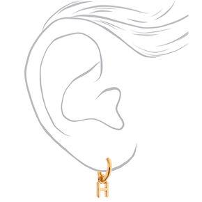 Gold 10MM Initial Huggie Hoop Earrings - H,