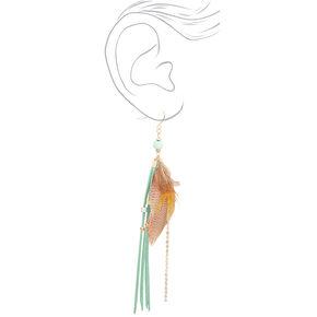 """Gold 5.5"""" Feather Fringe Tassel Drop Earrings - Mint,"""