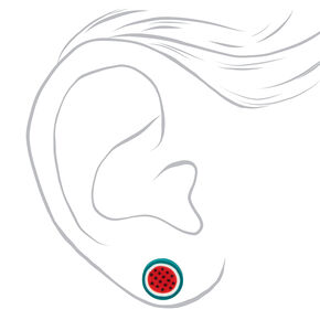 Silver Mixed Fruit and Flower Stud Earrings - 3 Pack,