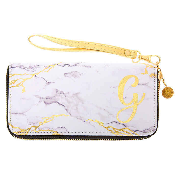 Gold Marble Initial Wristlet - G,