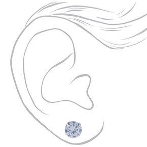 Silver Cubic Zirconia Round Stud Earrings - 5MM, 7MM, 9MM,
