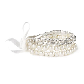 Pearl & Rhinestone Stretch Bracelet,