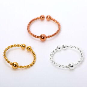 Sterling Silver Mixed Metal Twisted Bead Faux Hoop Nose Rings - 3 Pack,