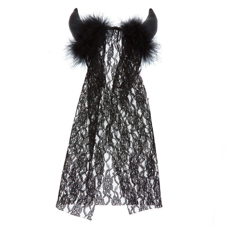 Devil Horn Veil Headband - Black,