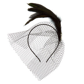 Feather Gem Netted Fascinator Headband - Black,