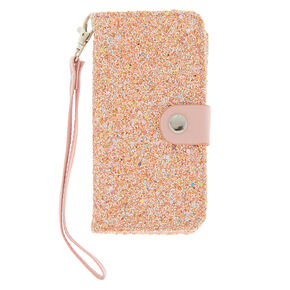 7b55b7863bc8 Blush Crushed Glitter Folio Phone Case - Pink