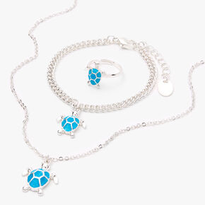 Silver Turtle Jewellery Gift Set - Blue, 3 Pack,