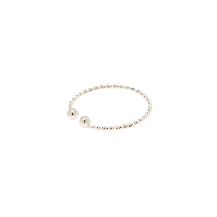 Silver Braided Faux Hoop Nose Ring,