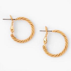 Gold 20MM Laser Cut Twisted Hoop Earrings,