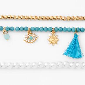 Evil Eye Tassel Pearl Beaded Stretch Bracelets - Blue, 3 Pack,