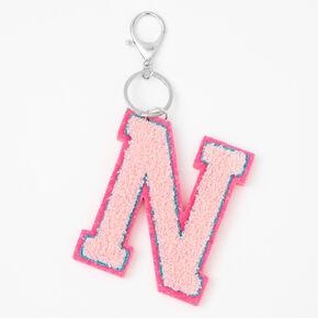 Pink Varsity Initial Keyring - N,