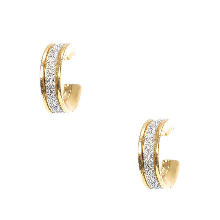 Gold 10mm Silver Glitter Hoop Earrings