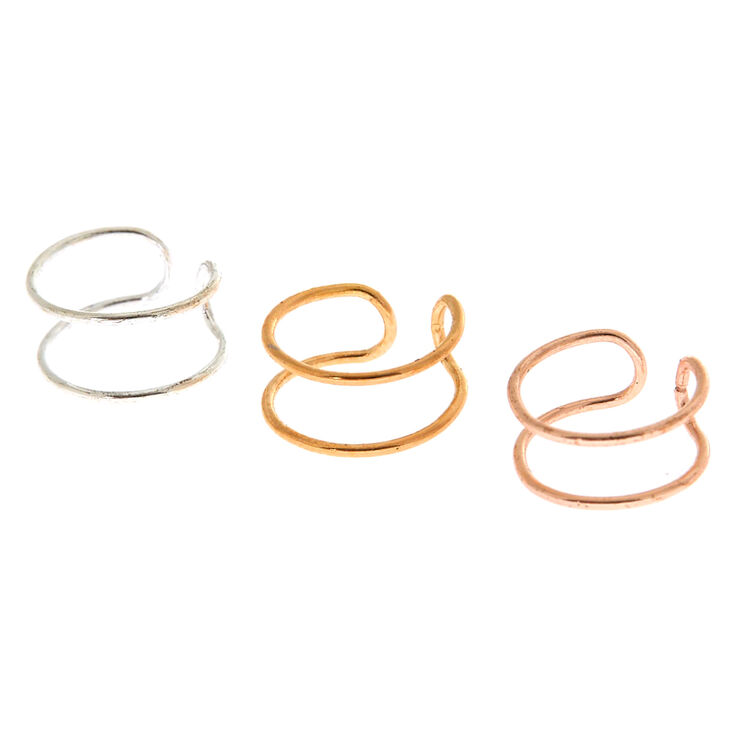 3 Pack Mixed Metal Wire Ear Cuffs,