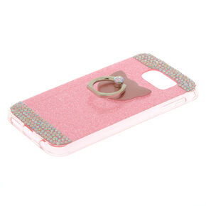 Cat Glam Ring Stand Phone Case - Pink