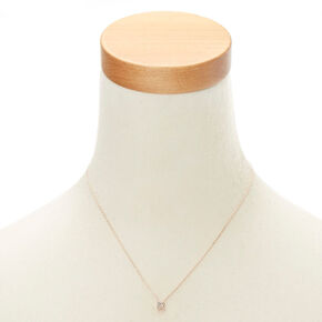 Rose Gold Embellished Initial Pendant Necklace - R,