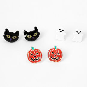 Silver Mixed Halloween Stud Earrings - 3 Pack,