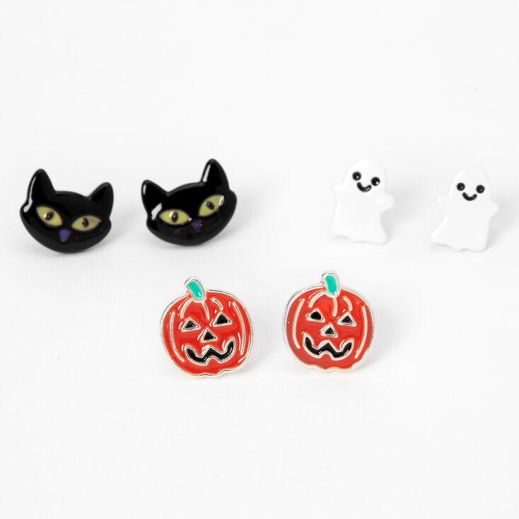 Silver Mixed Halloween Stud Earrings - 3 Pack,