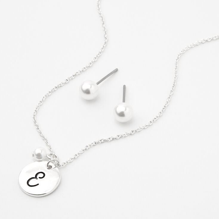 Silver Initial Pearl Jewellery Set - E, 2 Pack,